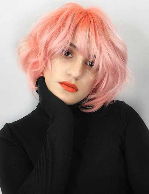 Neon-Peach-Layered-Bob Lovely Styling Ideas For Layered Bob Hair