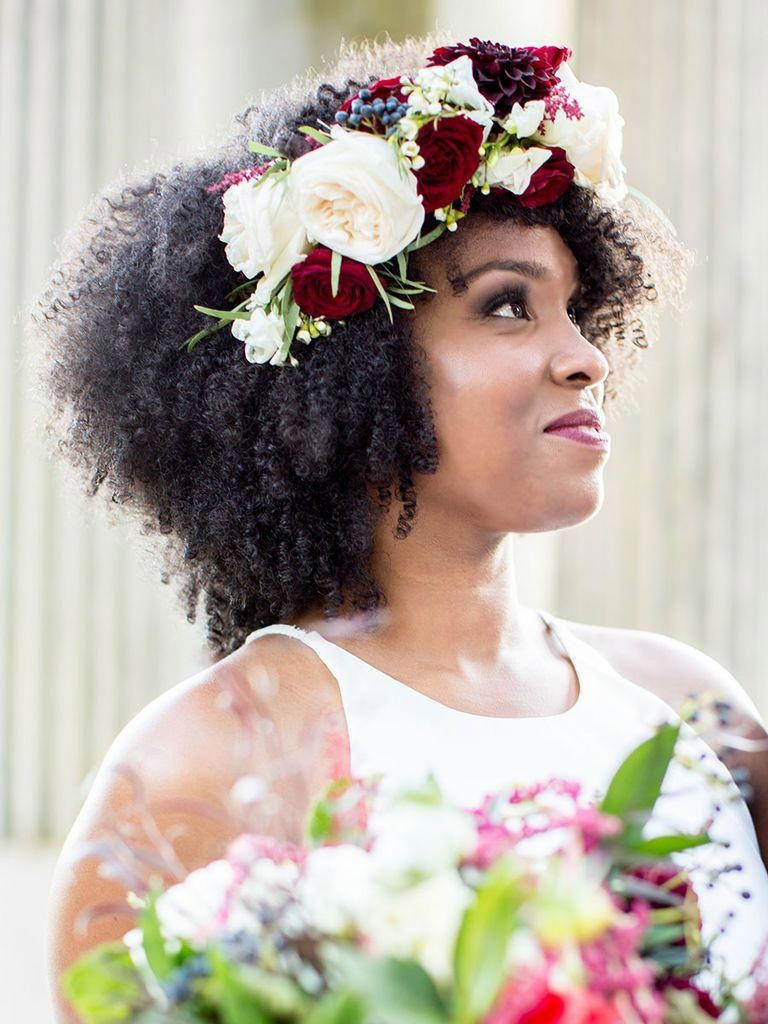 Pretty-Curls-with-Flowers-Hairstyle Most Beautiful Natural Hairstyles for Wedding