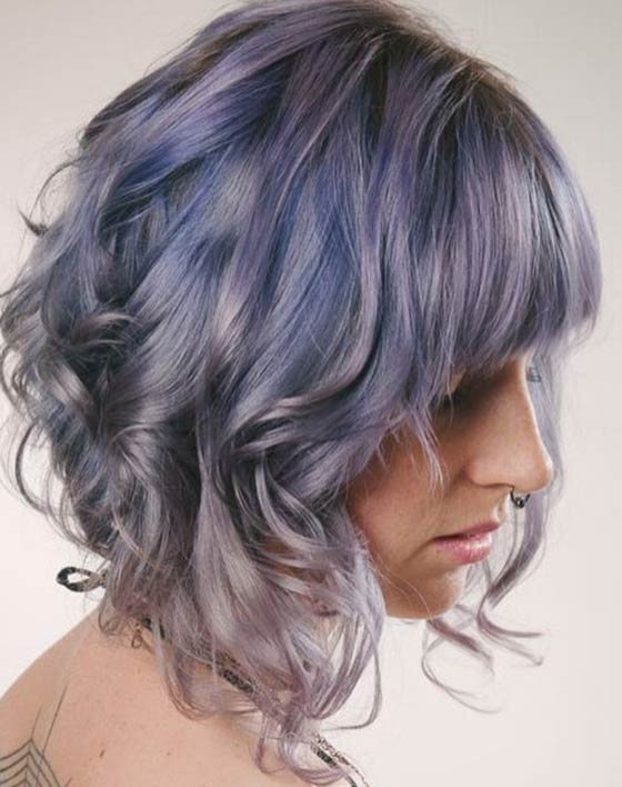 Short-Curly-Layers-With-Front-Bangs Layered Hairstyles With Bangs