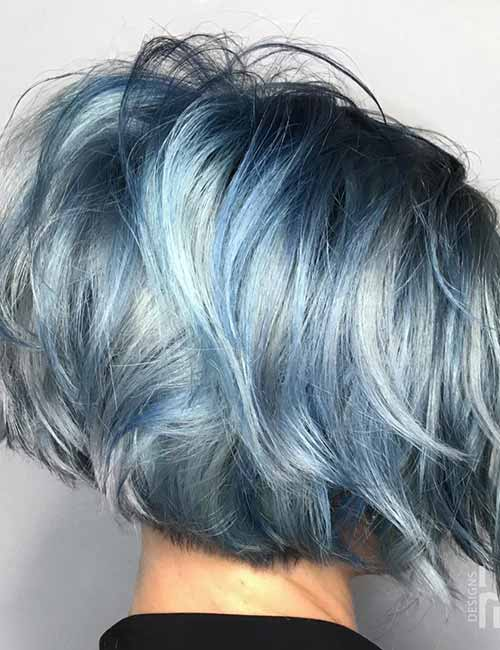 Steel-Blue-Layered-Bob Lovely Styling Ideas For Layered Bob Hair