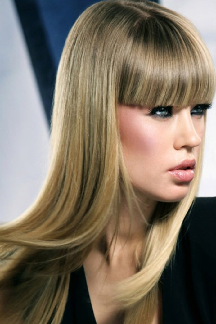 Straight-Silky-Black-and-Blonde-Hair-with-Long-Bangs Modern Hairstyles for Women to Look Trendy