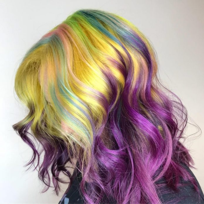 Sunshine-and-Rainbow-Hair Best and Beautiful Hairstyles with Color