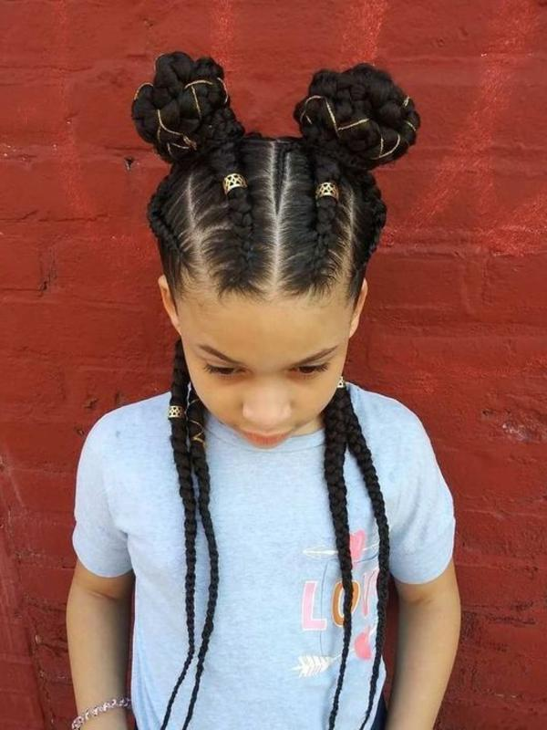 Thick-and-Thin-Cornrow-Braids-Accessorized Cutest African American Kids Hairstyles