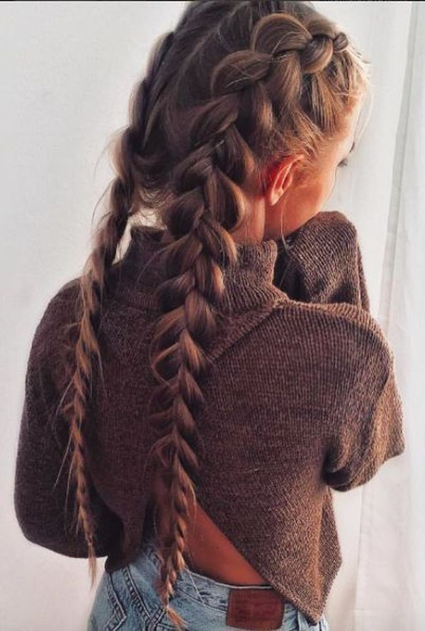 Twin-Inverted-Braid-for-Long-Hair Most Adorable Long Hairstyles with Braids