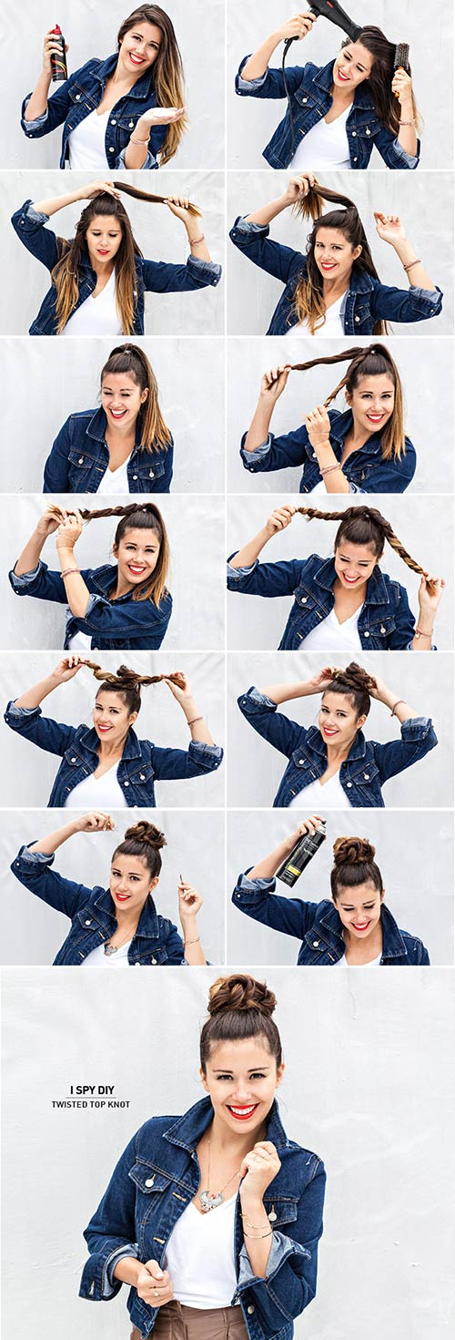 Twisted-Top-Knot Awesome Hairstyles For Girls With Long Hair