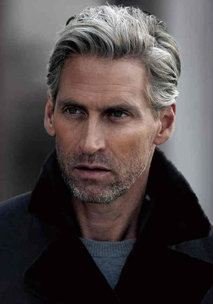 Wavy-Grey-Hairstyle-with-Stubble-Beard- Grey Hairstyles for Men to Look Smart and Dashing