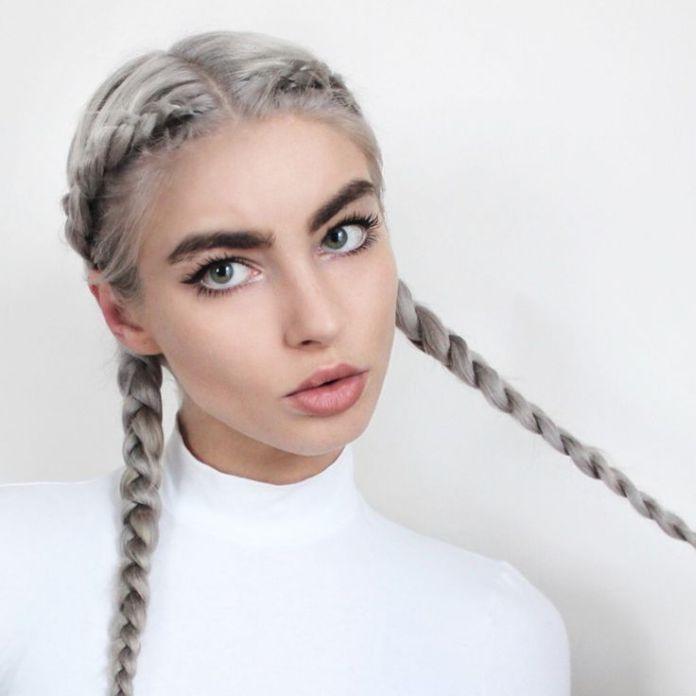 Ash-Colored-Braid Stylish and Modern Braids Hairstyles