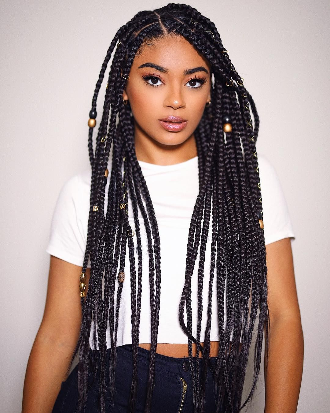 Beaded-Box-Braid-Hairstyle Poetic Justice Braids to Flaunt Your Fabulous Look