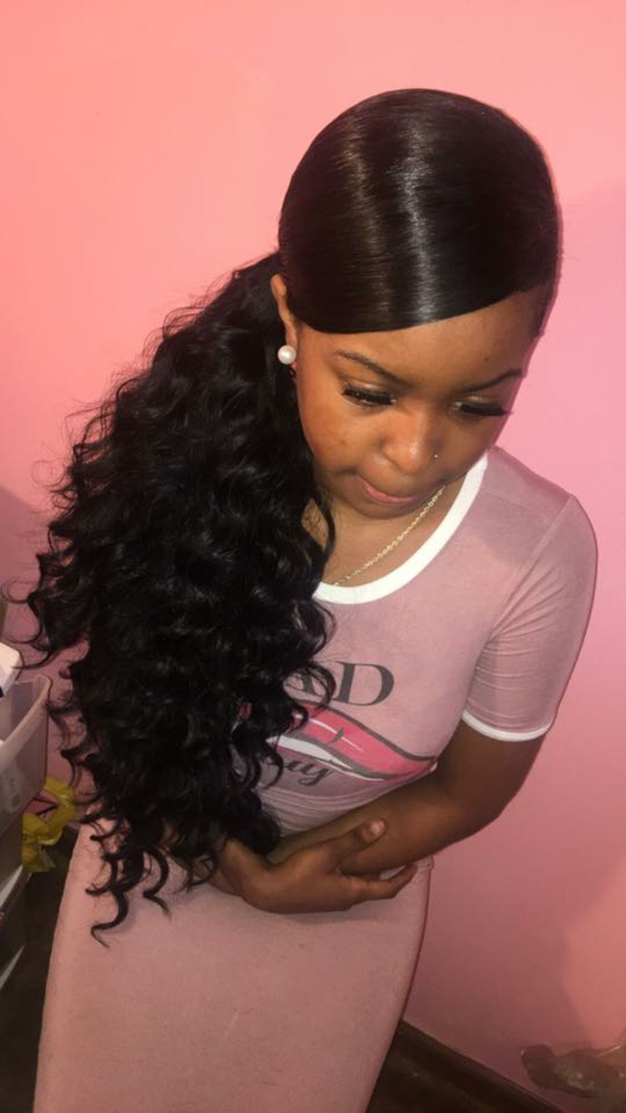 Blend-of-Curls-and-Straight-Hair-with-a-Side-Ponytail Charming and Cute Hairstyles for Black Women