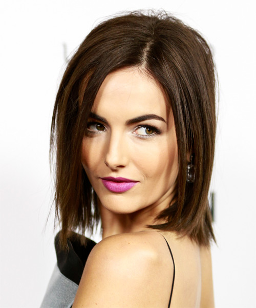 Camilla-Belle-Medium-Straight-Bob-Hairstyle Hottest And Trendy Bob Haircuts For Stylish Look