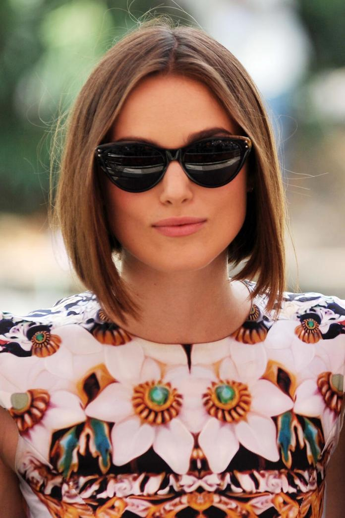 Center-Parted-Bob Celebrity Short Hairstyles for Glamorous Look