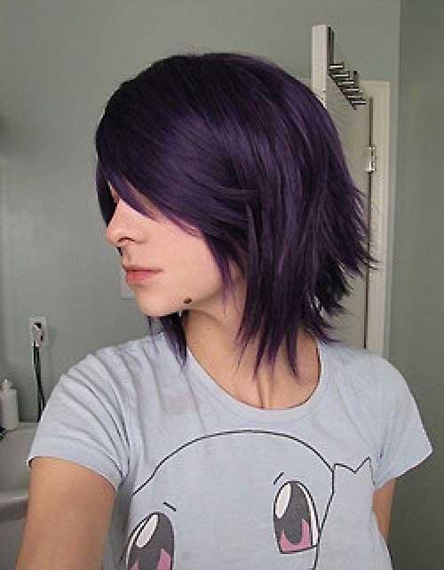 Cute-Easy-Short-Dark-Purple-Hair-Style Cute Easy Hairstyles For Short Hair