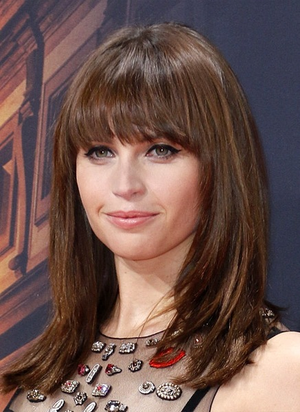 Felicity-Jones-Long-Straight-Hairstyle Most Beautiful Celebrity Long Haircuts To Adore