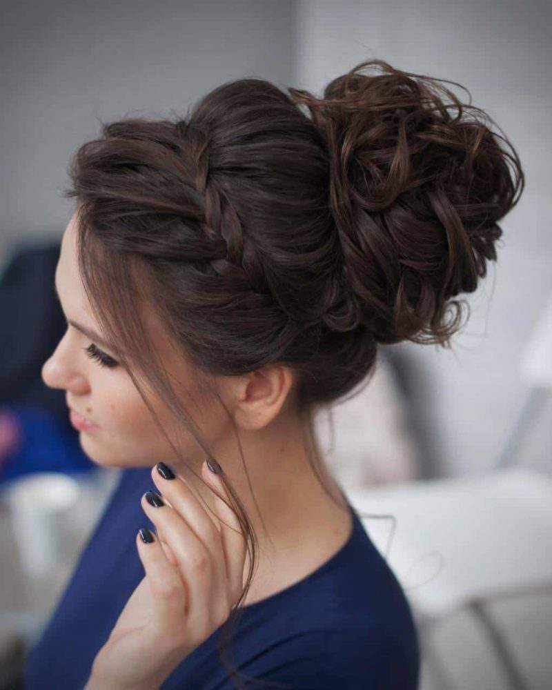 French-Braided-Chignon-Hairstyle Most Gorgeous Looking Chignon Hairstyles