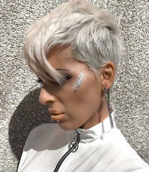 Long-Blonde-Pixie-Bangs Best Layered Pixie Hairstyles
