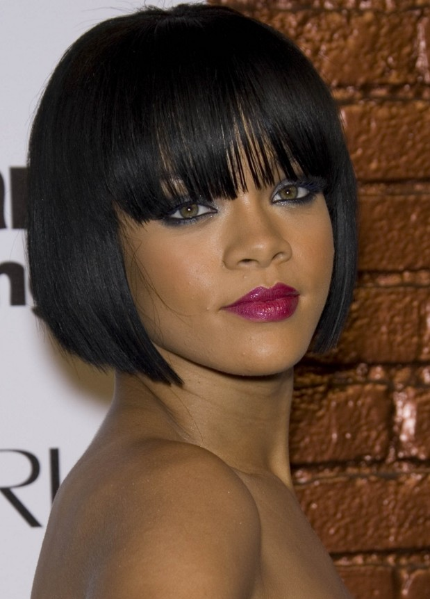 Long-Fringes-Covering-Forehead-with-Bob-Cut Charming and Cute Hairstyles for Black Women