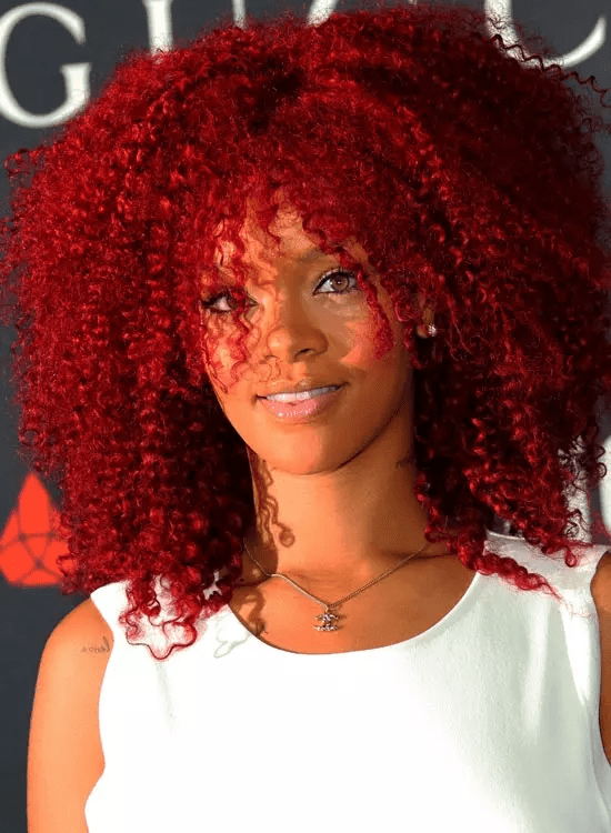 Red-Afro-Mane Best Rihanna Hairstyles