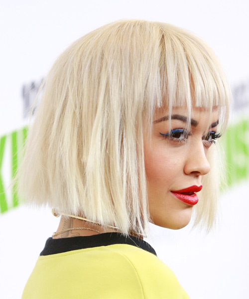 Rita-Ora-Medium-Straight-Bob-Hairstyle Hottest And Trendy Bob Haircuts For Stylish Look