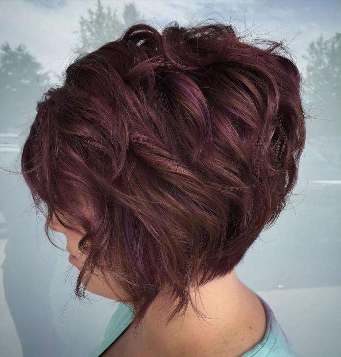 Shaggy-Burgundy-Hairstyle Everyday Short Hairstyles for Fabulous Look