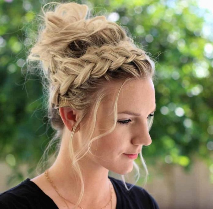 Signature-Braid-Messy-Chignon-Hairstyle Most Gorgeous Looking Chignon Hairstyles