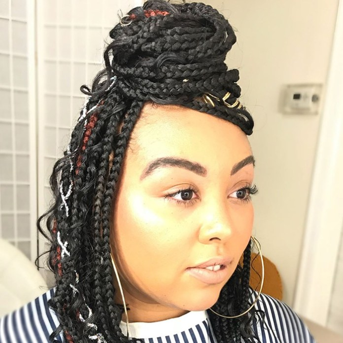 Top-Bun-Designed-Braid-Hairstyle Cool and Trendy Knotless Box Braids Styles
