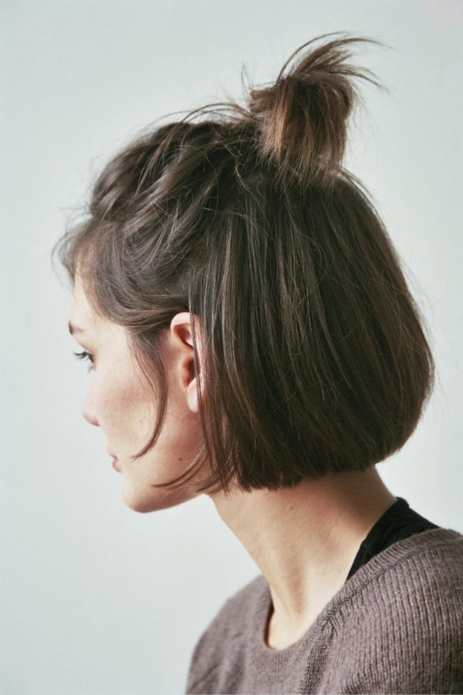 Topknot-Bob-Hairstyle Everyday Short Hairstyles for Fabulous Look