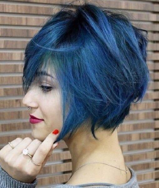 Bold-Blue-Bob Exotic Messy Bob Hairstyles That Women Love
