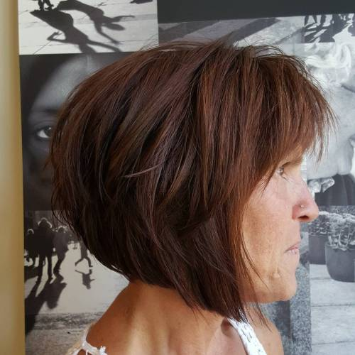 Brown-Layered-Angled-Bob Bob Hairstyles for Women Over 50 – Be Hot And Happening