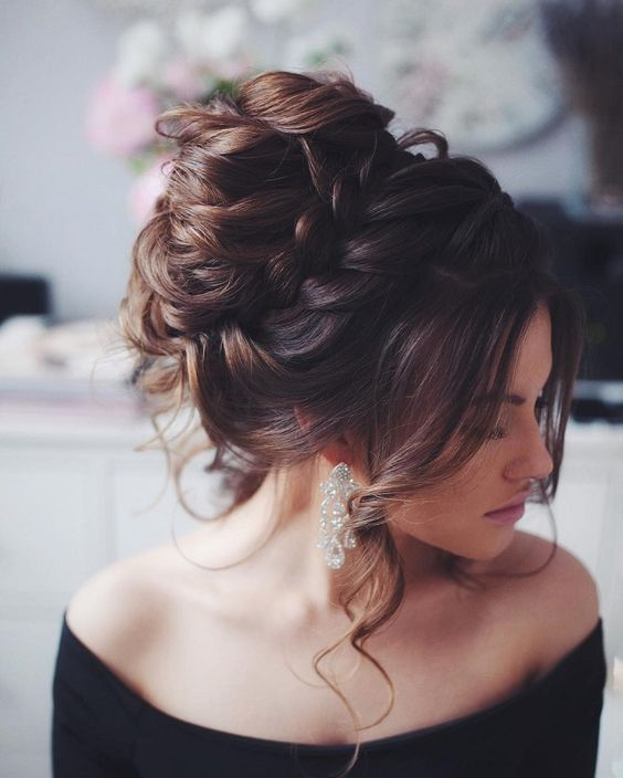 Curl-Flicks-with-Braided-Bun Hot and Happening Girls Hairstyles for Party