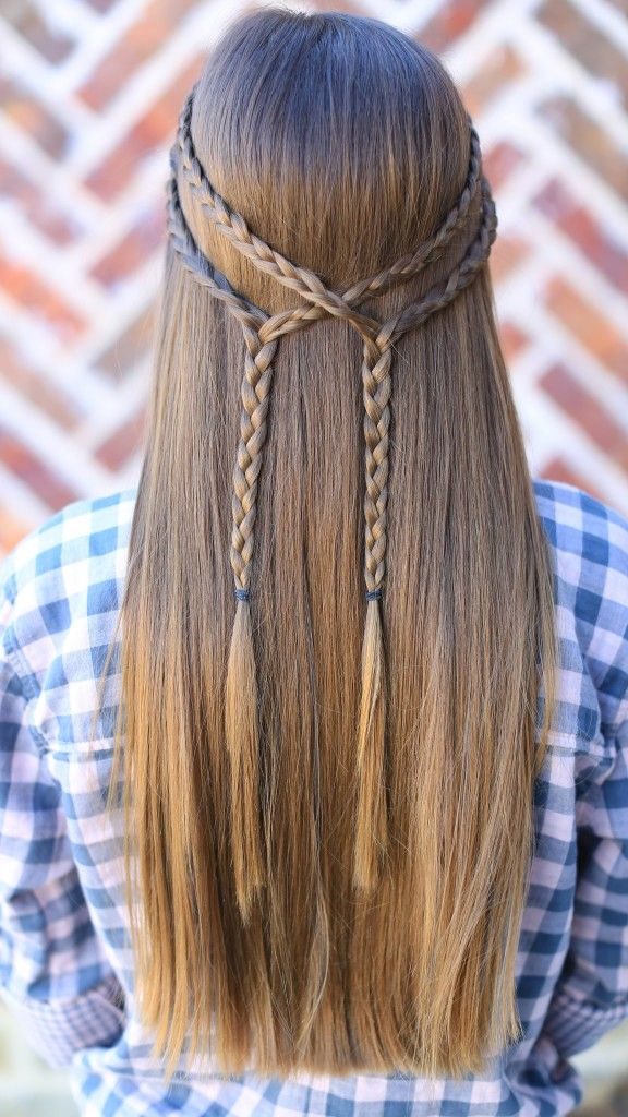 Double-Braid-Tie-Back Cute Hairstyles for Girls to Look Charismatic