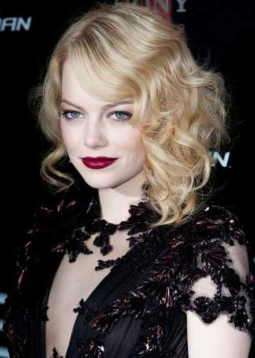 Emma-Stone's-Blonde-Bob-Cuts-for-Curly-Hair-with-Side-Bangs Best Bob Cuts for Curly Hair