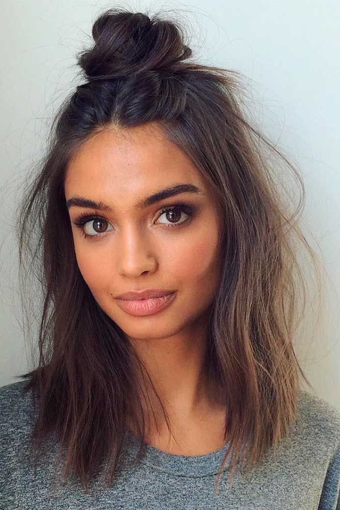 Half-Bun-on-Short-Wavy-Hair Contemporary Hairstyles for an Amazing Appearance