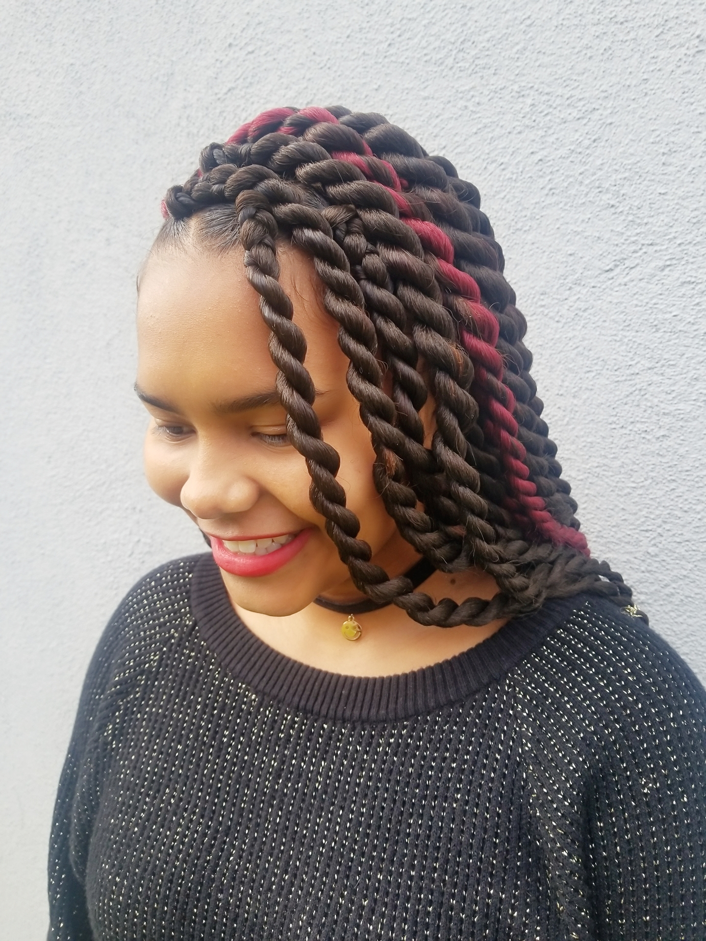 Red-Highlighted-Jumbo-Twists Most Coolest Twist Hairstyles for Amazing Look