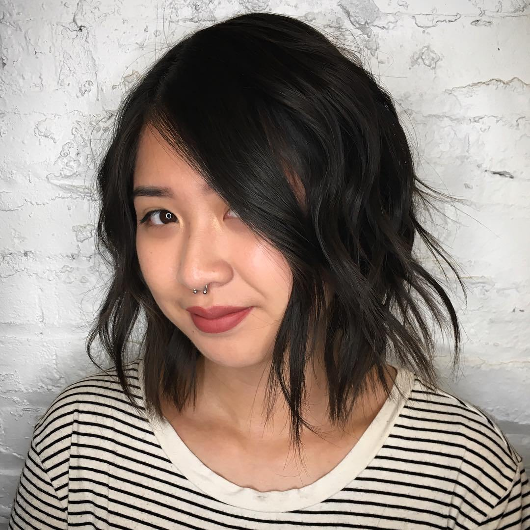 Shoulder-Length-Shaggy-Hair Most Ravishing Hairstyles for Double Chin
