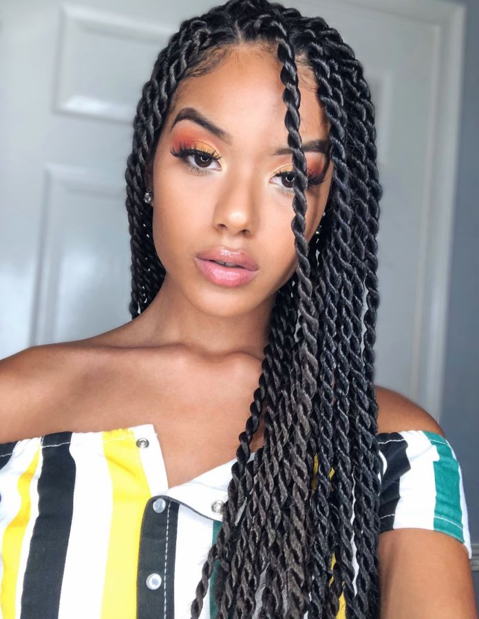 Side-Parted-Long-Twisted-Hair Most Coolest Twist Hairstyles for Amazing Look