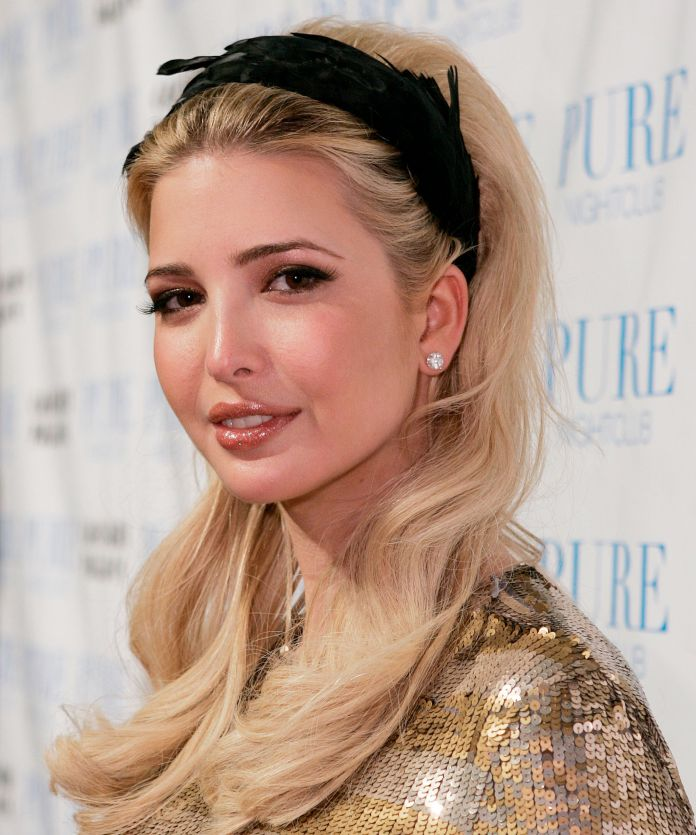 Slicked-Back-with-Headband Very Attractive Ivanka Trump Hairstyles