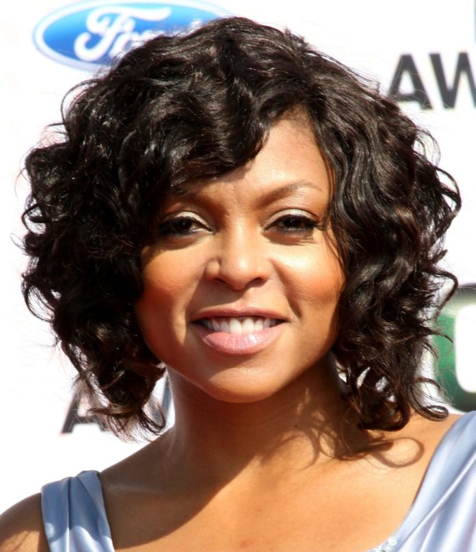 Afro-American-Curly-Bob-with-Flip-Out-Bangs Hairstyles For Women Over 50 With Bangs