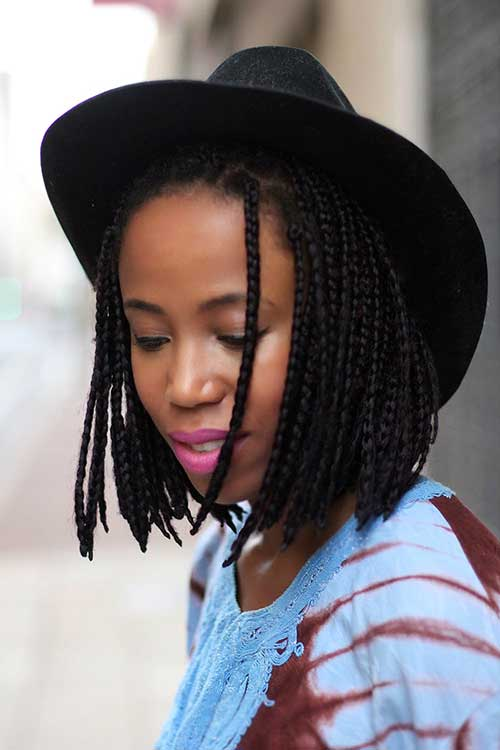 Black-Girl-with-Braided-Bob-Hairstyle Black Girl Bob Hairstyles