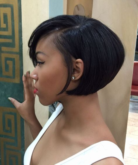 Black-Side-Parted-Curled-Under-Bob 15 On-trend Bob Haircuts For Black Women