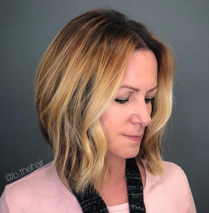 Blonde-Balayage-Lob Gorgeous Hairstyles and Haircuts for Women Over 40