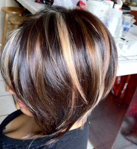 Blonde-Highlighted-Brown-Colored-Hair Short Hair Colors Ideas 2020