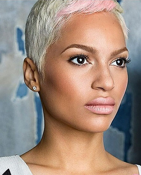 Blonde-Pixie-Cut-with-Pink-Bang Pixie haircuts are undoubtedly the best short haircuts for you