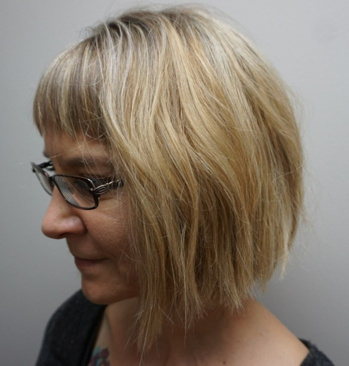 Blondie-with-Straight-Across-Bangs Gorgeous Hairstyles and Haircuts for Women Over 40