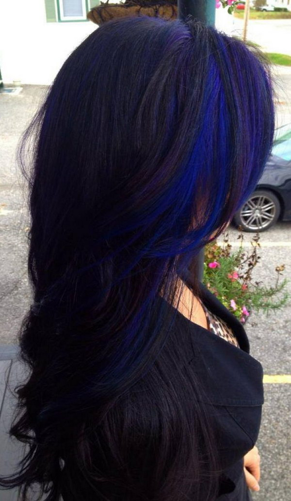 Bold-Blue-Highlights-in-Black-Hairstyles Most Beautiful Black Hairstyles with Highlights
