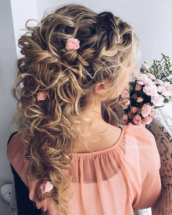 Braid-Loose-Curls-and-Roses 15 Stunning Bridal Hairstyles