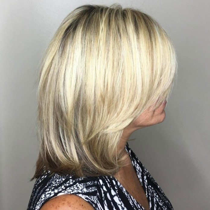 Bright-Blonde-Medium-Cut Gorgeous Hairstyles and Haircuts for Women Over 40
