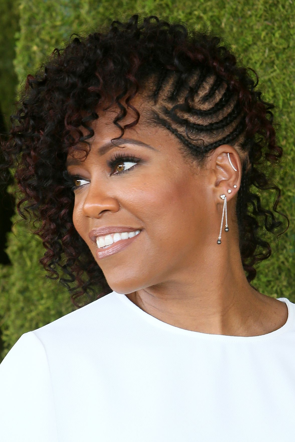 Brunette-Cornrows-with-Black-Curly-Thin-Strands Short Hairstyles for Black Girls to Look Flawless