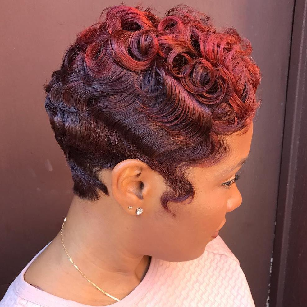 Cherry-Red-and-Maroon-Curled-Ringlets-with-Waves Short Hairstyles for Black Girls to Look Flawless
