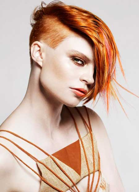 Copper-and-Colorful-Highlights-Hair Short hair color ideas