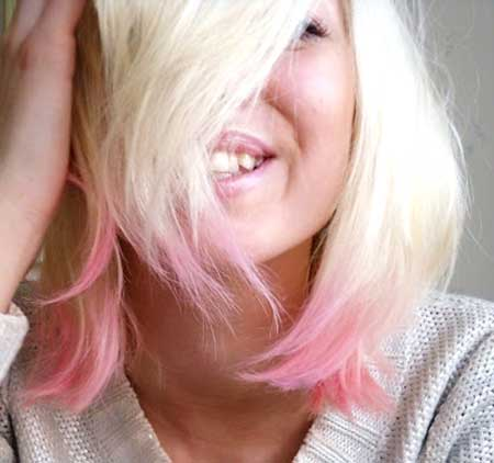 Cream-Colored-Hair-with-Pink-Colored-Ends Short Hair Colors Ideas 2020